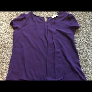 Deep Purple Blouse with front drape details NWT